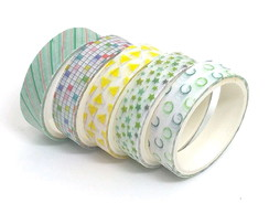 Kit Washi Tapes - Geométrica Coloridas (5 Unidades)