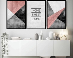 3 Quadros Abstrato Geométrico Rosê Frases Home Sweet Home