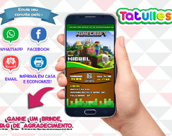 Convite Minecraft Digital Para Whatsapp