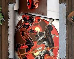 Jogo De Cama Solteiro Deadpool Desenho Hq Quadrinhos Herói