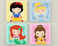 Kit Princesas Disney Cute 4 placas