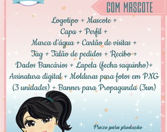 KIT 5 IDENTIDADE VISUAL COM 1 MASCOTE
