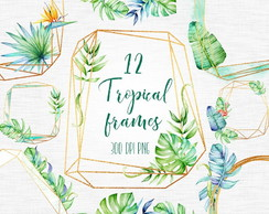 Tropical Frames Watercolor Kit Digital