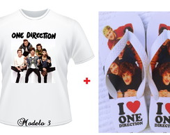 Kit Presente Personalizado One Direction Camiseta Chinelo