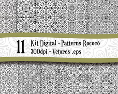 KIT 11 - PAPEL DIGITAL - Padrão Rococó