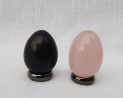 Duo Eggs - Obsidiana/Quartzo Rosa