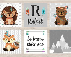 Kit Quadro Infantil - Tribal Be Brave Montanhas