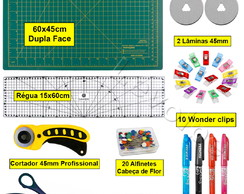 Kit Base De Corte 45x60 + Régua 15x60 + Tesoura + Mini Clips