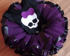 saia de tutu Monster High + body bordado Infantil