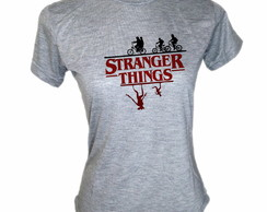 Camiseta Baby Look Cinza Série Stranger Things