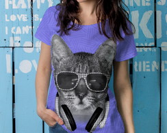 Camiseta t-shirt feminina Cat DJ