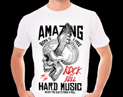 Camiseta Infantil - Adulta - CAVEIRA - AMAZING ROCK ROLL