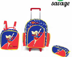 Kit Mochila Escolar Personalizada Super Hero Super Girl G