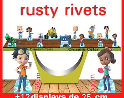 Display rusty rivets, totem enfeite de aniversario