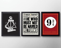Kit Quadros Decorativos Pôsteres Com Moldura Harry Potter 5