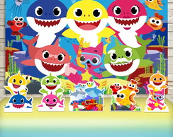 Kit Festa Prata Painel + Display Baby Shark