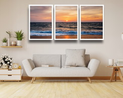 Kit 3 Quadros Decorativos Praia Por Do Sol Mar Ondas Moldura