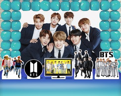 Kit Festa Ouro Painel + Display + Telas BTS Bangtan Boys