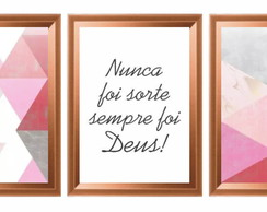 Quadro decorativo Abstrato frases Moldura rose gold