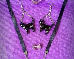 Conjunto Love Cats (brinco+colar)