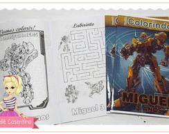 Kit Livro de Colorir + giz - Transformers