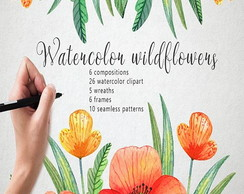 Kit Digital Watercolor Wildflowers scrapbook