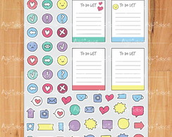 Cartela de adesivos planner bullet journal