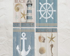 4 Quadros Decorativos Beach House