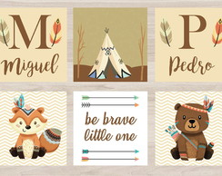 Kit 6 Placas Decorativas Bichinhos Tribal Be Brave
