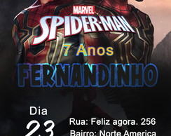 Convite Digital whatsapp ou redes Spider Man Homen Aranha