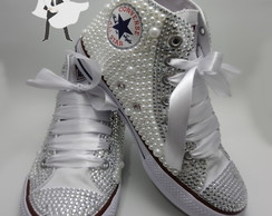 ALL STAR CUSTOMIZADO COM PÉROLAS E STRASS CANO ALTO