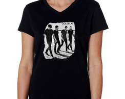 Camiseta Baby Look Preta Feminina Banda de Rock Coldplay 01