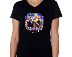 Camiseta Baby Look Preta Feminina Banda de Rock Coldplay 02