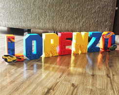 Letra 3D Decorada tema Hot Wheels modelo 2