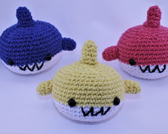 Baby, Mommy e Daddy Shark Amigurumi