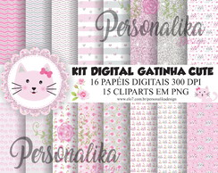 KIT DIGITAL GATINHA CUTE ROSA