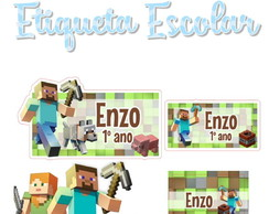 Etiqueta Escolar Minecraft - Kit 2