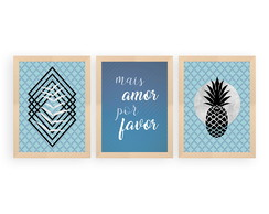 Conjunto 3 Quadros Decorativos Mais Amor Por Favor