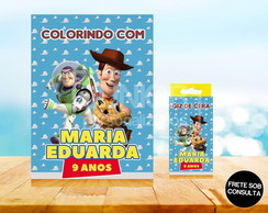 Kit Revista de Colorir + Giz de Cera Toy Story