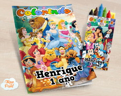 Kit colorir com giz de cera Magic Kingdom Disney