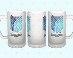 Caneca de Vidro do Anime Attack On Titan