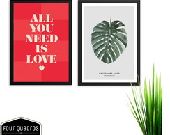 KIT 2 QUADROS DECORATIVOS 25x35 All You Need Is Love