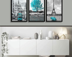 3 Quadros Decorativos Londres e Paris Arvores Azul Tiffany