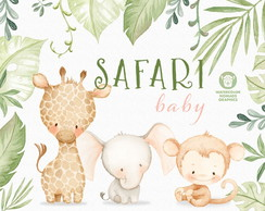 Safari Baby Aquarela Kit Digital