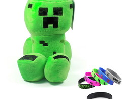 Pelucia Minecraft Creeper Musical 26 cm + Brinde