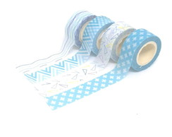 Kit Washi Tapes Pequenas - Geométrica Azul (4 Unidades)