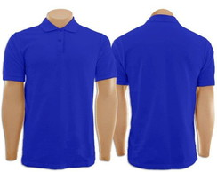 Camiseta Polo Plus Size na cor Azul Royal