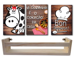 Kit Porta Temperos Madeira + 3 Placas Decorativas Mdf