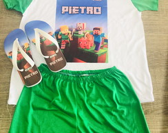 kit festa do pijama minecraft pijama e chinelo