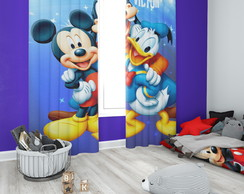 Cortina do MIckey com Nome Personalizado - 1,40m x 1,80m
